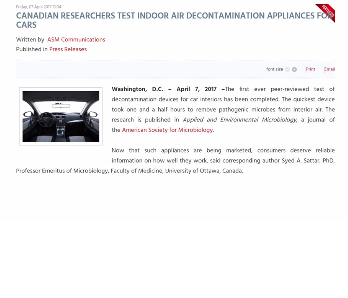 CANADIAN RESEARCHERS TEST INDOOR AIR DECONTAMINATION APPLIANCES FOR CARS
